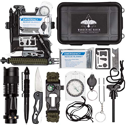 Survival Kit - 12-in-1 Outdoor survival gear for EDC, Camping, Hiking, Bushcraft [tactical pen, military knife, survival bracelet, emergency blanket, tactical flashlight] Everyday (Swiss Army Set Bracelet)