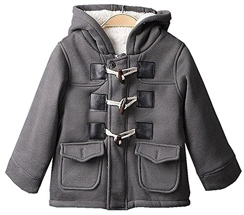 Cotton Blend Winter Fleece Outfits Duffle Hoodies Toogle Pea Coats Gray 130/6T ()