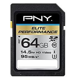 PNY Elite Performance 64GB Flash Memory High Speed SDXC Class 10 UHS-I (P-SDX64U395-GE)