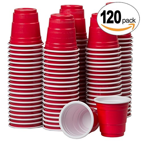 2oz Mini Red Solo Cups  120 Count  Disposable Tiny Shot Glasses & Party Shooters  Great for Alcohol Tasting, Tailgates, Jager Bombs, Roulette, Wine, Beer, Liquor  By Drinking Game Zone