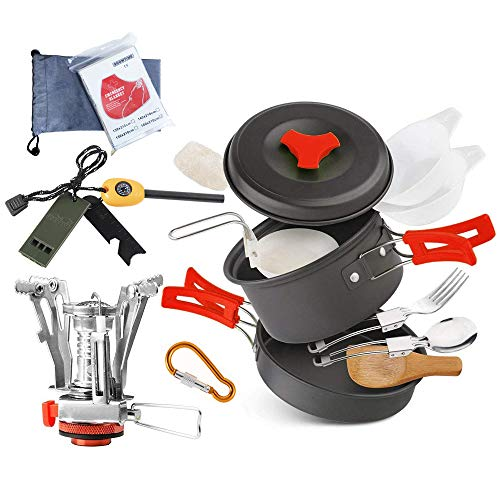 Camping Cookware Set Hiking backpacking Gear & Camping Outdoor Survival Utensils Cooking Equipment 15 Piece Cooking Utensils Mini Non-stick pan , Lightweight ,Folding,Best Camping Gear Mess kit
