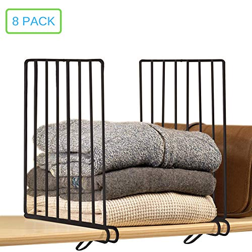 Xabitat Vertical Closet Wood Shelf Divider 2.0 - New and Improved Clothing Organizer with Easy Clamping - Powder Coated Steel Wire Metal Wardrobe Separators - Set of 8 - Black