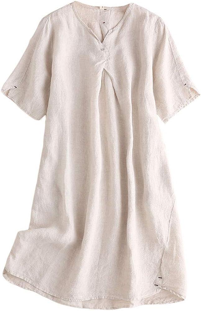 Mordenmiss Women's Linen Tunic Dresses V-Neck Baggy Midi Dress Hi-Low Tops