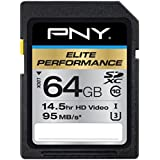PNY Elite Performance 64GB Flash Memory High Speed SDXC Class 10 UHS-I (P-SDX64U395-GE)