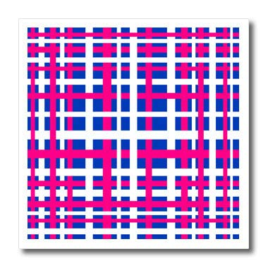 3dRose BlakCircleGirl - Design - Blue and Pink Stripes - Bright and fun stripes in a plaid pattern in pink, white and blue - 8x8 Iron on Heat Transfer for White Material (ht_286909_1) - Shirt Basket Print Weave