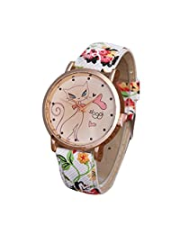 Wrist Watch, Yoyorule Women Cute Cat Leather Band Analog Quartz Movement Wrist Watch (Red)