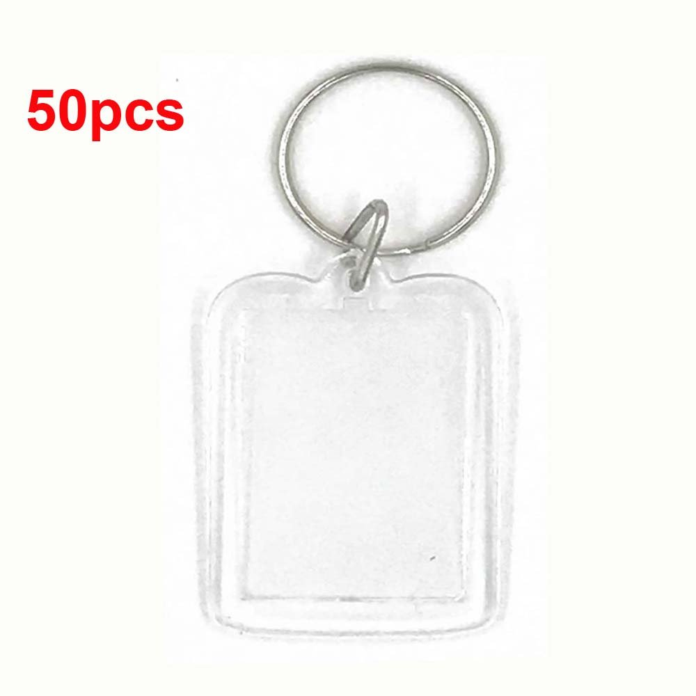 50pcs Snailmon Acrylic Photo Snap in Key Chain Frames, Custom Personalized Insert Clear Blank DIY Picture Frames-2''x1.3'' size