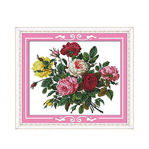 Beautiful Rose Patterns Counted Cross Stitch 11ct 14ct Cross Stitch Set Flower Cross-Stitch Kit Embroidery Needlework,14ct Picture Printed ()