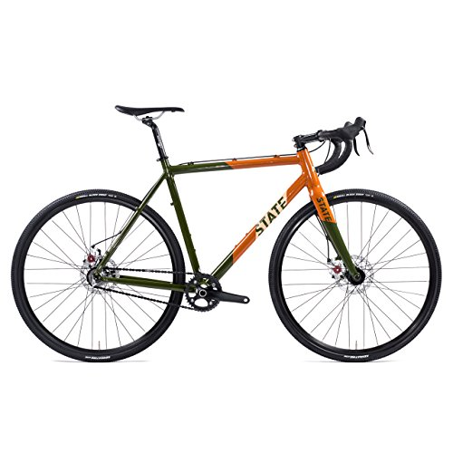 State Bicycle Co. Thunderbird Cyclocross Offroad Single Speed Bike, Army/Burnt Orange, 58cm