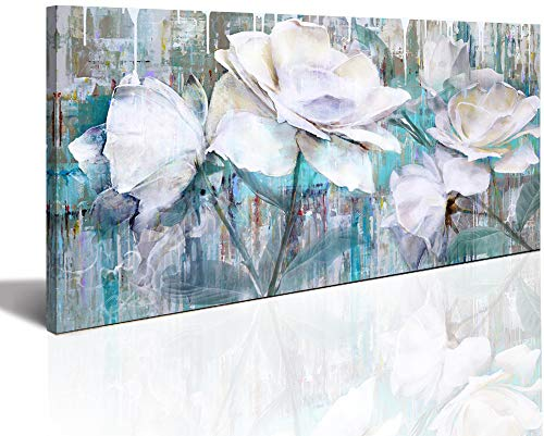 (Large Wall Art for Living Room Gray Green Abstract Painting watercolor paintings for walls painting Abstract White roses flower floribunda Framed Canvas Prints Wall Art Decor Home Bathroom Office Deco)