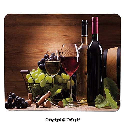 Mouse Pad,Glasses of Red and White Wine Served with Grapes French Gourmet Tasting Decorative,for Computer,Laptop,Home,Office & Travel(11.81