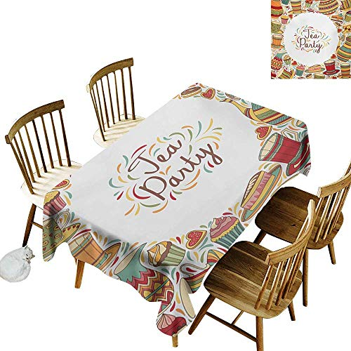 (Fashion Tablecloth W54 x L72 Tea Party Cartoon Drawing Style Kitchenware and Tea Party Items Cups Pots Colorful Design Multicolor Suitable for Home Coffee Bar Party Wedding & More)