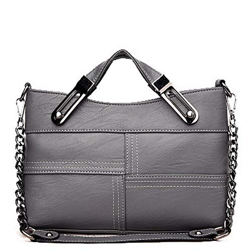 VogueZone009 Women's Chains Pu Tote Bags Casual Crossbody Bags,CCABO207642,Gray by VogueZone009