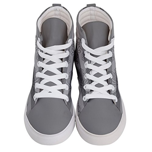 CowCow Womens Vintage Fashion of Flowers on Womens High Top Skate Sneakers Gray RCyQPyrx