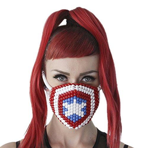 """Masque Chirurgical Kandi """"Captain America"""" - Kandi Gear, masque pour rave party, masque pour Halloween, masque de perle pour festivals de musique et fêtes"""