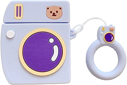 BONTOUJOUR AirPods Case Creative Suitcase Shape Stripe Surface Silicone Case Cover Protective Skin for Apple AirPods-Purple