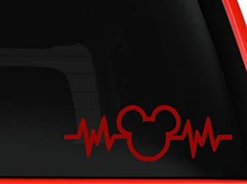 6 Car Truck Vinyl Decal Art Wall Sticker Disney Fun Adorable Cute Life Mickey Mouse Heartbeat 2PK