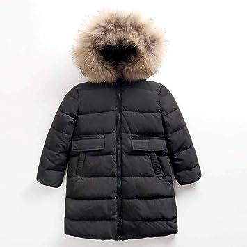 ML Bebé Chaqueta con Capucha de Invierno Abrigo de Abrigo Cálido Impermeable Ligero, Chaquetas de Engrosamiento Cuello de Piel cómodo Unisex,Black,110cm: ...