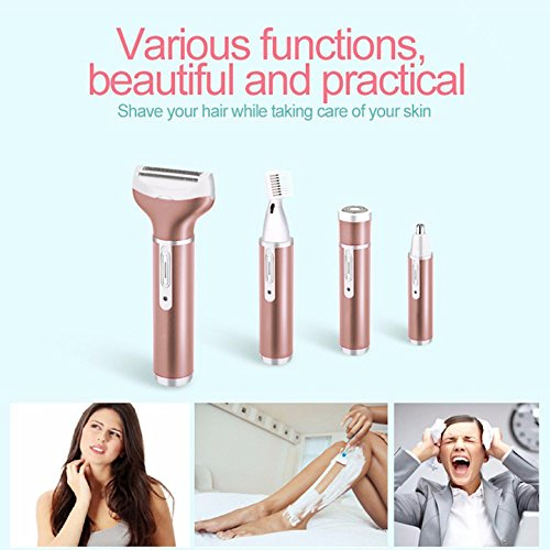 Bikini Trimmer 4 in 1 Rechargeable Electric Women Shaver Facial Hair Removal Nose Hair Trimmer/ Eyebrow Trimmer Waterproof Razor for Women and Men