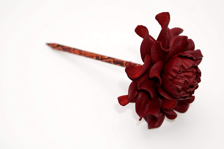 Yak Lialia Genuine Leather Flower 2.5' Deep Red Rose Wooden Hair Stick 4'