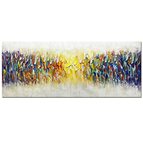 Amei Art Paintings,24x60Inch 3D Hand-Painted Abstract Colorful Melody Unframed Oil Painting on Canvas Simple Modern Home Decor Wall Art Contemporary Artwork Texture Palette Knife Paintings Large ()