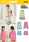 Simplicity New Look Kids & Tweens Pattern 6296 Girls Dress, Tops and Shorts Sizes 3-4-5-6-7-8-10-12-14