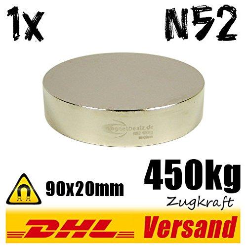 Starker gro/ßer Neodym Magnet Dauermagnet Scheibenmagnet 90x20mm 450kg vernickelt