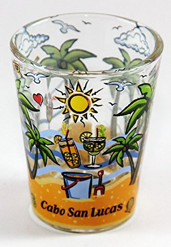 Cabo San Lucas Mexico (Cabo San Lucas Mexico Palms Bottom Design Shot Glass)