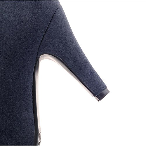 HFour blue Blu gomma alto XIAOGANG Stivale laterale antiscivolo satinato corto tallone Beige Lady impermeabile resistenza usura H tavolo 38 nero Seasons 5wXXHqC
