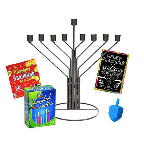 (Aviv Gift Tin Rambam Chabad Chanukah Menorah with 44 Colorful Candles Dreidel Menorah Art Scratch Off with Hanukkah Puzzle Book)