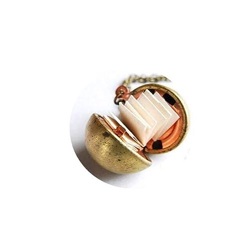 Amazon.com: clásico latón pelota collar con camafeo Mensaje ...