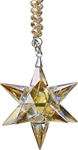 Qf Crystal Ornament Glass Pendant Morning Star Shaped Christmas Ornament, Crystal Collectible Decor, Champagne