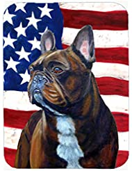 Caroline S Treasures LH9010LCB USA American Flag With French Bulldog Glass Cutting Board Large Multicolor
