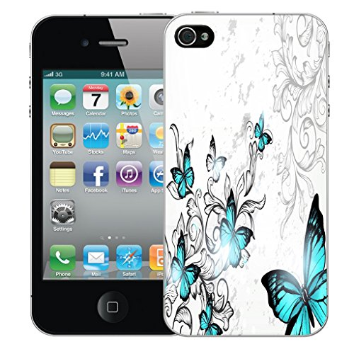 Mobile Case Mate iPhone 5s Silicone Coque couverture case cover Pare-chocs + STYLET - Blue Winged Butterfly pattern (SILICON)