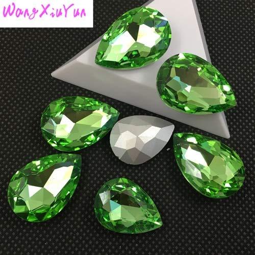 Calvas 4x6mm 6x8mm 7x10mm Teardrop Fancy Stones Shiny Gems Crystal Pointback Rhinestone - (Color: Peridot, Item Diameter: 7x10mm 90pcs) ()