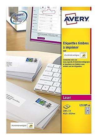 Bien-aimé Avery L7159 Boîte de 240 Etiquettes Autocollantes pour Timbres (24  LN65