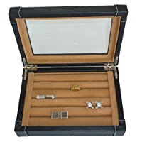 Black Leatherette Cufflink Case & Ring Storage Organizer Men's Jewelry Box for Cufflinks