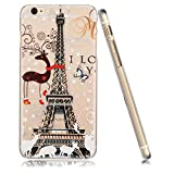 3Cworld iPhone 6 , 6S Case Clear Matte Back Cover Hardshell with Design [4.7'' Hard Plastic] - Retail Packaging - 21 Patterns (Eifel Tower-black)