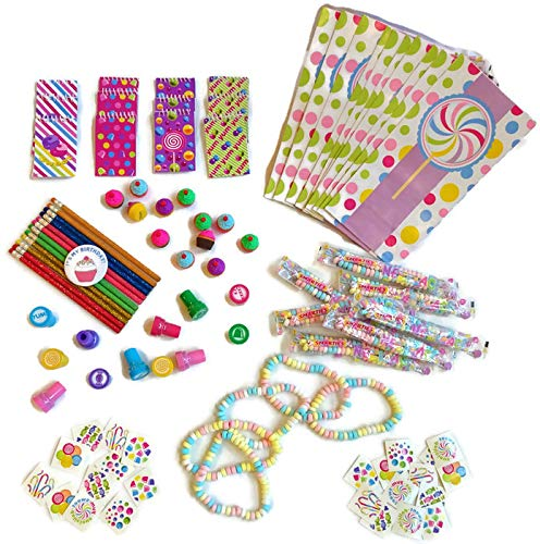 Candy Theme Party Favors- Necklaces, Stampers, Notebooks, Pencils, Tattoos, Goody Bags, and Birthday Button (12 Pack)