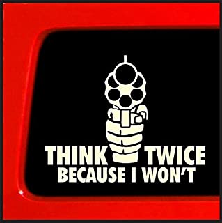 product image for Keen Gun Decal | Think Twice Because I Won't | White | 6 X 4.75 in Decal