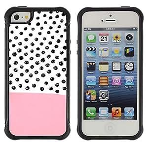 Híbridos estuche rígido plástico de protección con soporte para el Apple iPhone 5 / 5S - pink pattern hand drawn