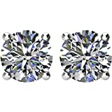 Diamond Stud Earrings, Rhodium Plated 14k White Gold (1.00 Cttw, Color GH, Clarity I1)