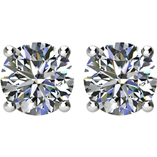 Diamond Stud Earrings, Rhodium Plated 14k White Gold (1.00 Cttw, Color GH, Clarity I1) by The Men's Jewelry Store (for HER)