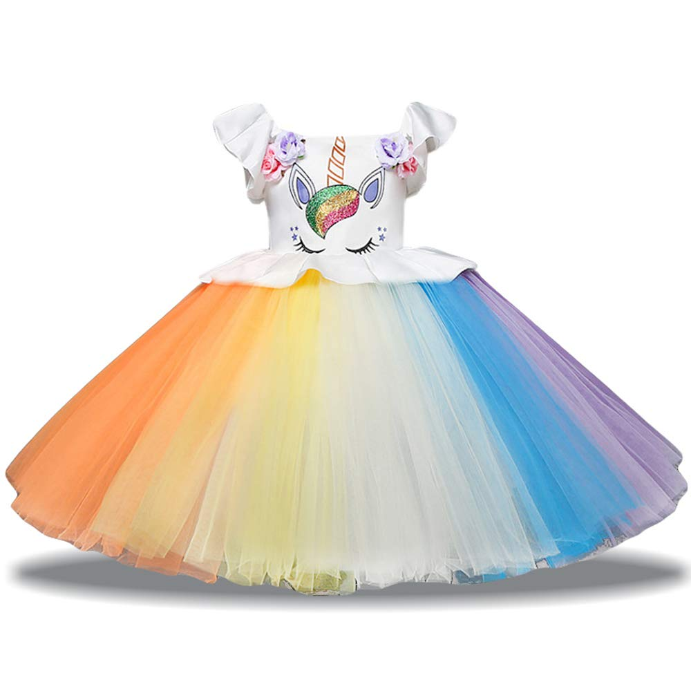 7842515d ... rainbow lace popular unicorn design,ruffles floral print, give your  child a cute looking. Adorable dress - A Best Present You Choose for  Birthday, ...
