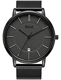 Unisex All Black Minimalist Quartz Wristwatch Ultra Thin with Date and Milanese Mesh Band (black gray)
