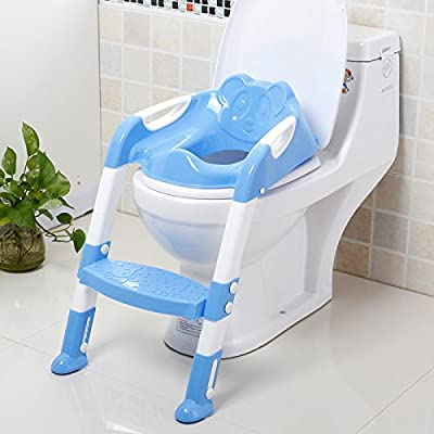 Escalera de Inodoro Asiento de Inodoro para niños Plegable Cómodo y Conveniente Adecuado para bebés bebés Adecuado para la mayoría de los inodoros,Blue: Amazon.es: Deportes y aire libre