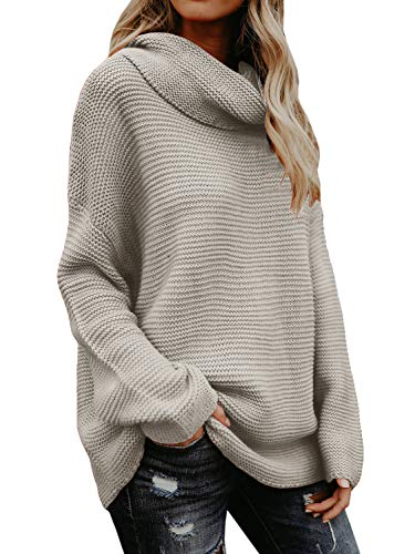 Sherrylily Womens Oversized Turtleneck Long Sleeve Pullover Sweaters Casual Loose Solid Color Jumpers Khaki