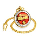 Bling Jewelry Red Enamel Fire Engine Firefighter Quartz Gold Plated Mens Pocket Watch Free Engraving