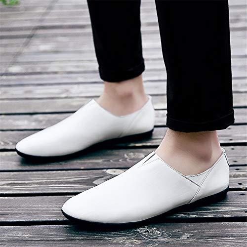 Primavera 38 Y Negocios Formal Hombre Gpf Confort Lazy white fei Nuevos Oficina Cuero Suela De Zapatos Carrera Suave Slip Mocasines Conducción Para ons UUYBqzw