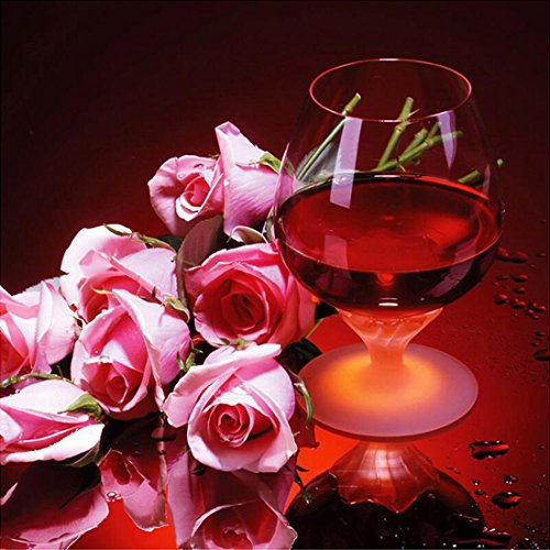 21secret 5D Diamond Diy Painting Full Drill Handmade Everlasting Love Pink Roses Flower and Red Wine Cross Stitch Home Decor Embroidery Kit